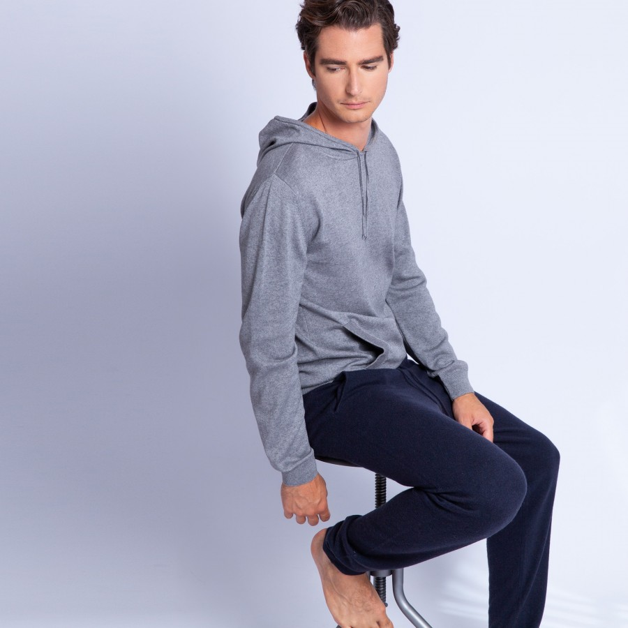 Sweat à capuche en coton cachemire - Hiroji 6344 rafale - 09 gris moyen