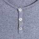T-shirt col tunisien en coton cachemire - Harumi 6344 rafale - 09 gris moyen