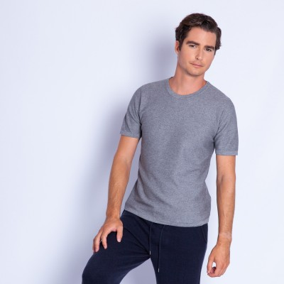 Cotton and cashmere round neck T-shirt - Hideo