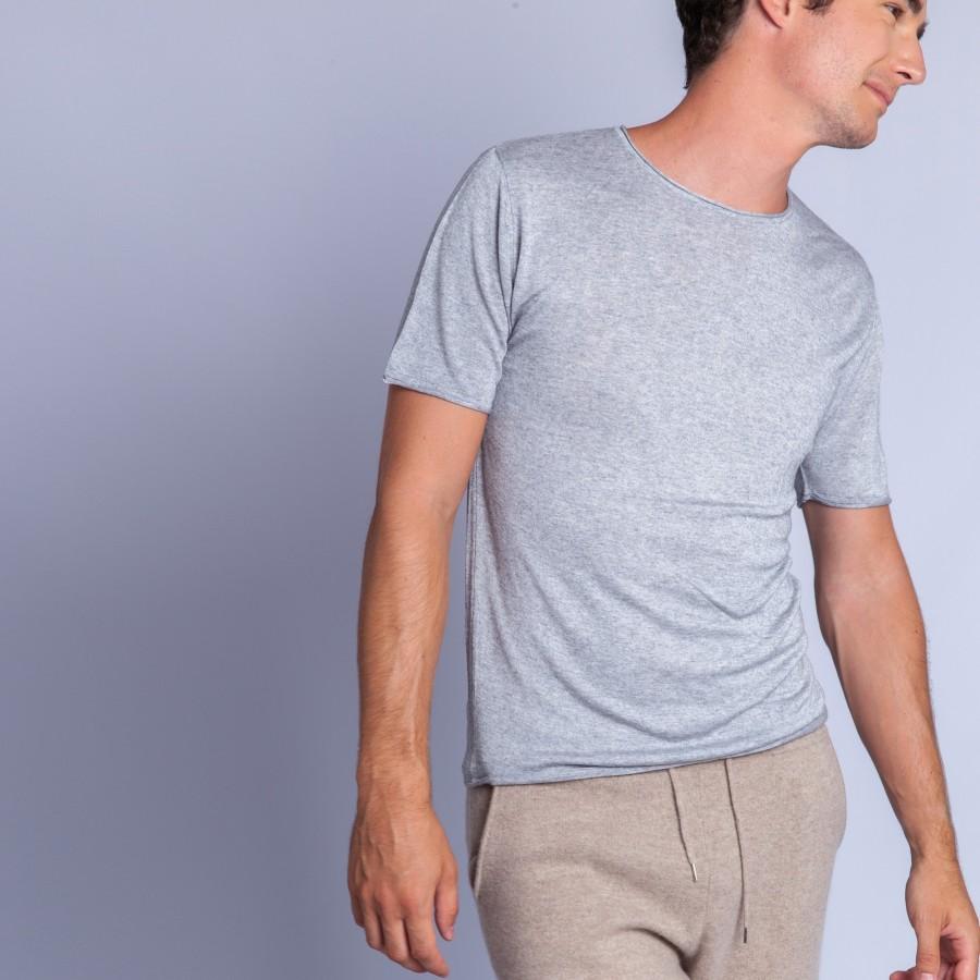 T-shirt en bambou cachemire - Haloa 6344 rafale  - 09 gris moyen