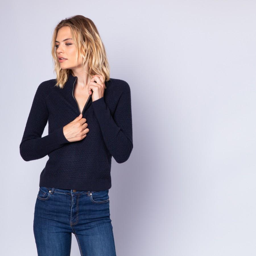 Zipped collar cashmere jumper - Encens