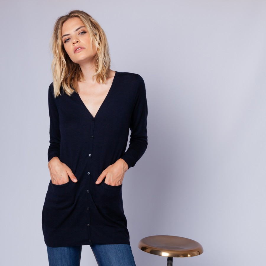 Long cardigan made of merino wool - Elodie