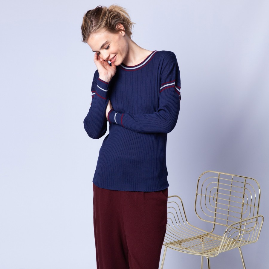 Wool jumper with tricolour rib stitches - Edouard