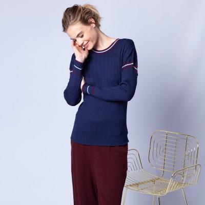 Pull en laine à côtes tricolores - Edouard